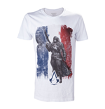 "ASSASSIN'S CREED ""Unity French Tricolour Flag"" T-Shirt für Männer in Farbe weiss, Größe L"