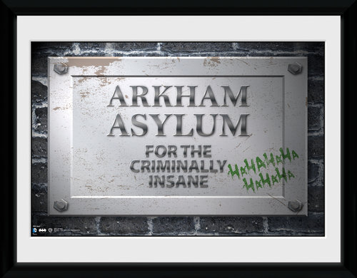 Poster Batman Comic Arkham Asylum Sign Framed Collector Print