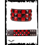 3-reihiges sw/rotes Schachbrett Armband