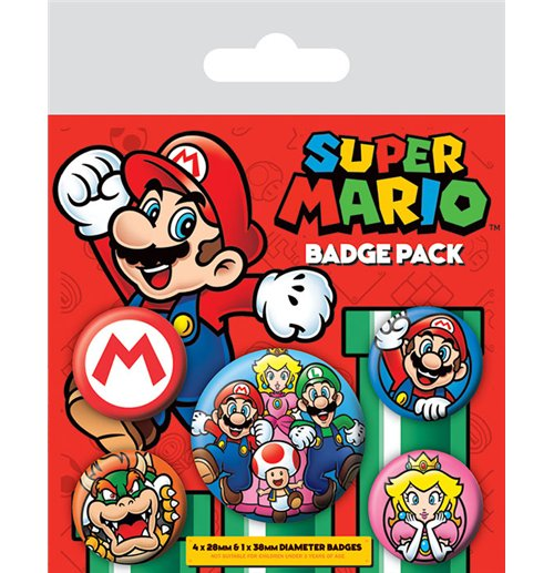 Super Mario Ansteck-Buttons 5er-Pack