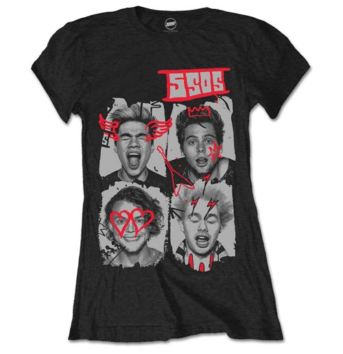 T-Shirt 5 seconds of summer Doodle Faces fur Frauen