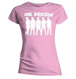 T-Shirt One Direction für Frauen Silhouette White on Pink