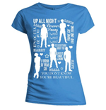 T-Shirt One Direction fur Frauen Sihouette Lyrics White on Blue