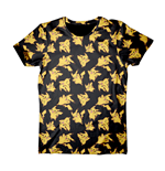T-Shirt Pokémon POKEMON Adult Männlich Pikachu All-Over Print T-Shirt, Klein, Schwarz