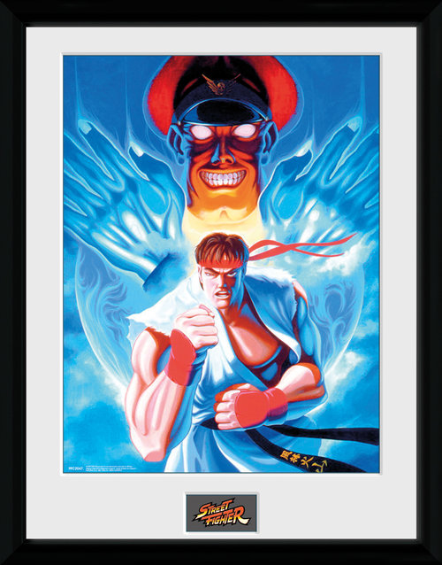 Poster Street Fighter Ryu and Bison mit Rahmen