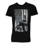 T-Shirt Captain America  Black and White Patriot