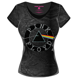 T-Shirt Pink Floyd - Acid Wash Vintage Circle Logo Black Grey