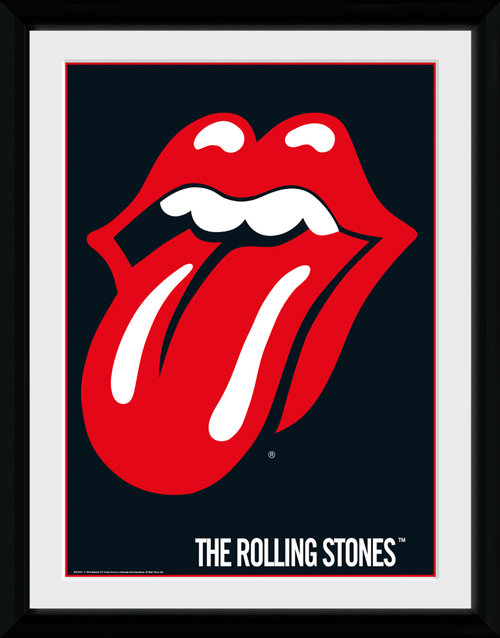 Poster The Rolling Stones Lips mit Rahmen