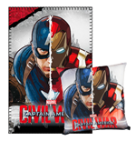 Captain America Civil War Kissen & Fleecedecke Set Captain America & Iron Man