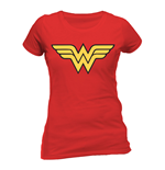 T-Shirt Wonder Woman - Logo -  tailliert fur Frauen in rot.