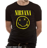 T-Shirt Nirvana - Smiley Logo Front Print Only - Unisex in schwarz.