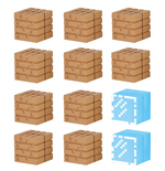 Minecraft Mine-Keshi Minifiguren 2 - 4 cm Block Set Wood Planks & Glass