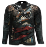 Longsleeve Trikot Assassins Creed Iv Black Flag - Allover in schwarz
