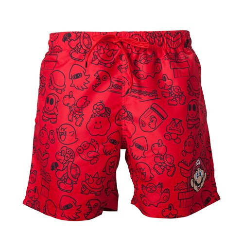 Badehose Super Mario Bros. Men's Mario Face & All-over Characters Print Short, Small in rot