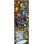 Poster Marvel Superhelden fur die Tur. Retro Helden - Grosse: 53 x 158 cm.