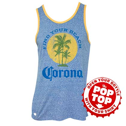 Top Corona EXTRA Men's Blue Find Your Beach mit Flaschenoffner
