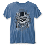 T-Shirt Guns N' Roses Men's Fashion Faded Skull with Burn Out Finishing