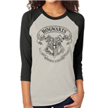 T-Shirt Harry Potter - Hogwarts - unisex Baseball in weiss