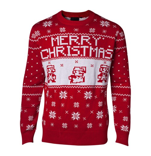 Pullover Super Mario Bros. Men´s  Knitted Pixel Mario Merry Christmas Sweater, Small, Red