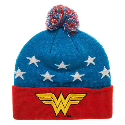 Kappe Wonder Woman  Embroidered Winter Pom