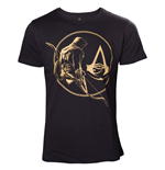 T-Shirt Assassins Creed Origins - Golden Bayek and Crest Logo Black