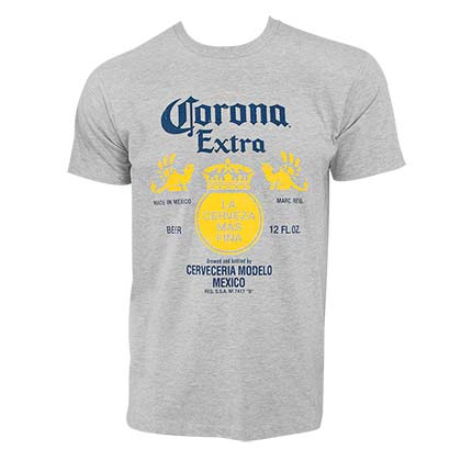 T-Shirt CORONA EXTRA Bottle Label in Grau