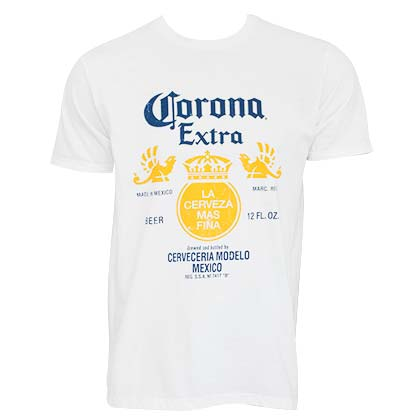 T-Shirt CORONA EXTRA Bottle Label in weiss