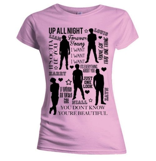 One Direction T-Shirt für Frauen - Design: Silhouette Lyrics Black on Pink