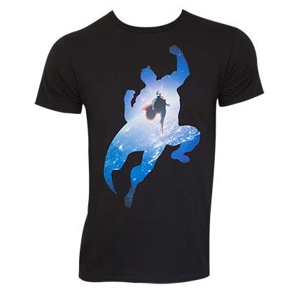 T-Shirt Superman Space Flight in schwarz