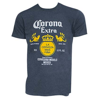 T-Shirt Corona Bottle Label in blau