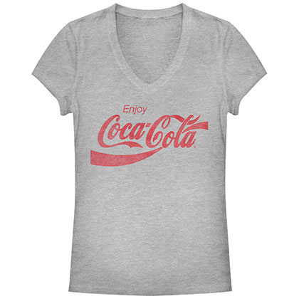 T-Shirt Coca Cola Straight Up Juniors in grau.