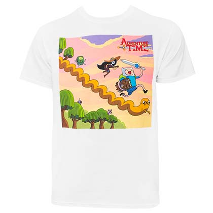 Kaufe T Shirt Adventure Time Running Characters In Weiss Fur Manner