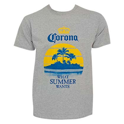 T-Shirt Corona What Summer Wants Palms in grau für Männer