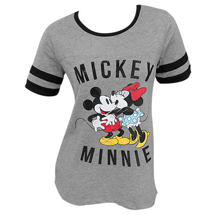 T-Shirt Mickey Mouse Kissing für Frauen Ringer T-Shirt in Grau