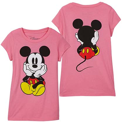 T-Shirt Mickey Mouse Front Back Print Youth Girls in Pink