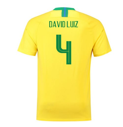 2018/2019 Trikot Brasilien Fussball 2018-2019 Home  (David Luiz 4) für Kinder
