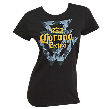 T-Shirt Corona EXTRA Triangles Palms Logo für Frauen