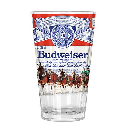 BUDWEISER Clydesdale Horse Label Pint Glas