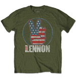 John Lennon T-Shirt für Männer - Design: Peace Fingers US Flag