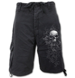 Shorts Spiral Skull Scroll - Vintage Cargo Shorts Black (Plain)