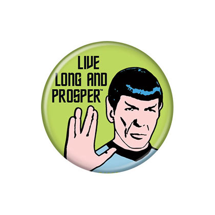 Star Trek  Brosche Live Long And Prosper Green Button
