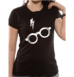 Harry Potter T-Shirt für Frauen - Design: Glasses Fitted in schwarz