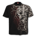 T-Shirt Spiral Skull Shoulder Wrap - Allover T-Shirt Black