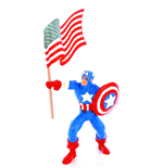 Marvel Comics Mini Figur Capitain America & Flagge 10 cm